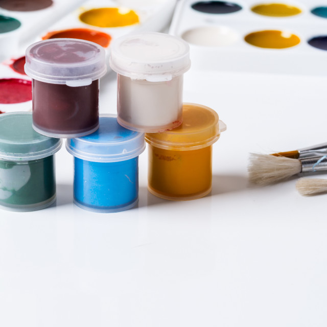 """""""Tools for the artist - brushes and acrylic paints"""" stock image"""