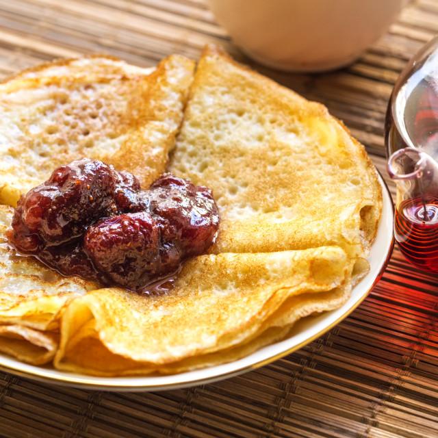"""Delicious breakfast Strawberry jam on pancakes."" stock image"