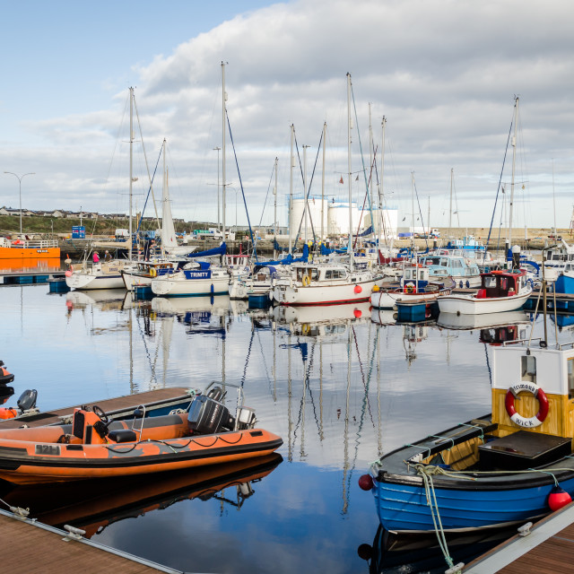 """""""Boats at Wick harbour"""" stock image"""