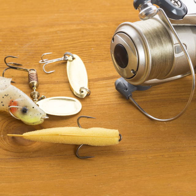 """Fishing tackle - coil and wobblers and spoon-baiters"" stock image"