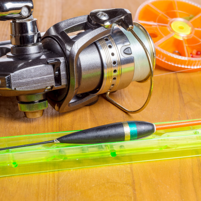 """""""Spinning coil and float. Fishing gear"""" stock image"""