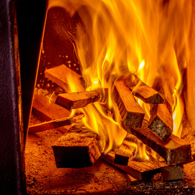 """""""Close up shot of burning firewood in the fireplace"""" stock image"""