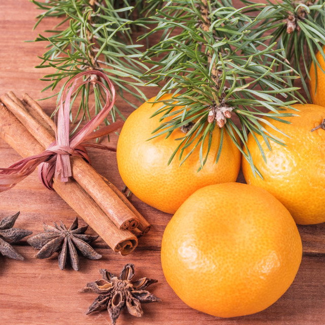 """""""Christmas composition with fir branches, mandarins"""" stock image"""