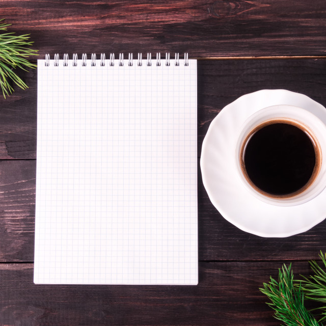 """""""goals list with notebook, cup of coffee on wooden desk"""" stock image"""