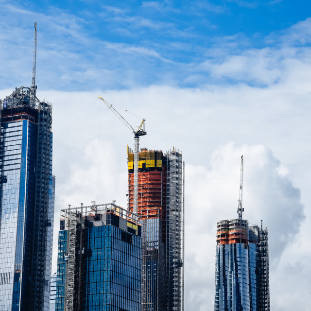 """Skyscrapers under construction in New York City"" stock image"