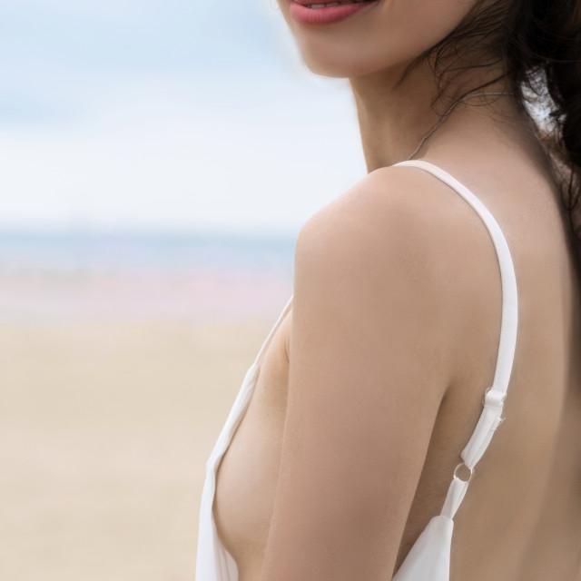 """Jessica P :: White Brach Dress Close Up"" stock image"