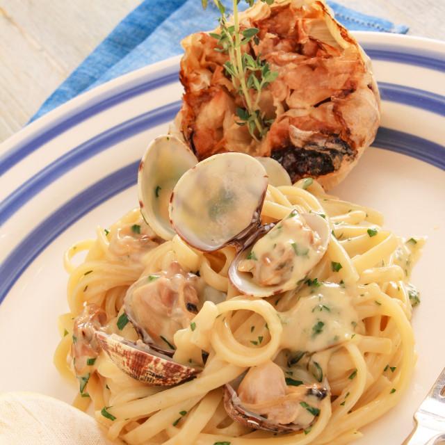 """fresh made clam linguine pasta"" stock image"