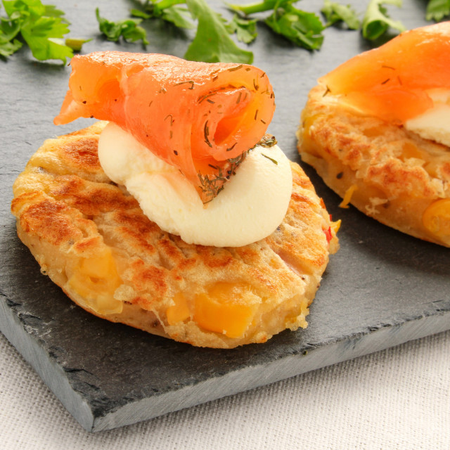 """""""prawn sweetcorn fritter canapes"""" stock image"""
