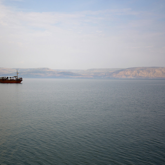 """Boat on the Sea of Galilee"" stock image"