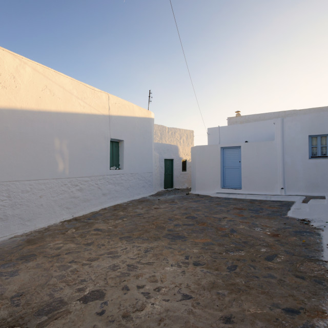 """""""Sunset in traditional village of Chora, Amorgos"""" stock image"""