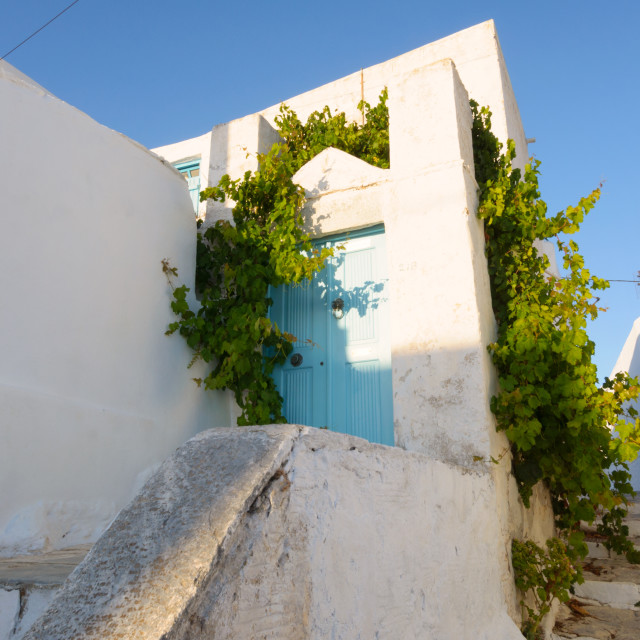 """""""Beautiful traditional white house in Amorgos Chora"""" stock image"""