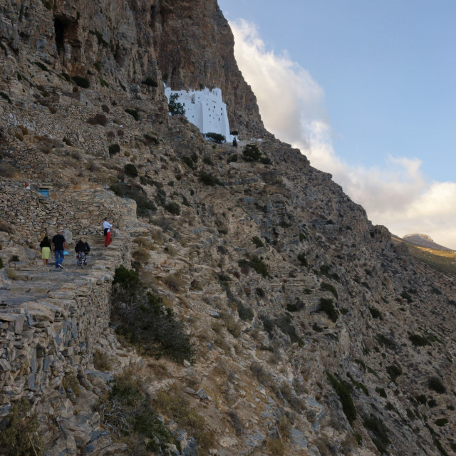 """Climbing to the unique Monastery of Hozoviotissa in Amorgos"" stock image"