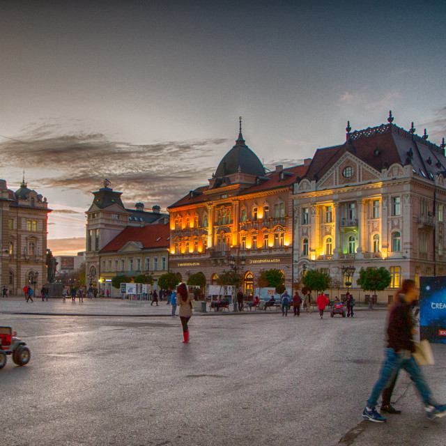 """Novi Sad Liberty Square at twilight"" stock image"