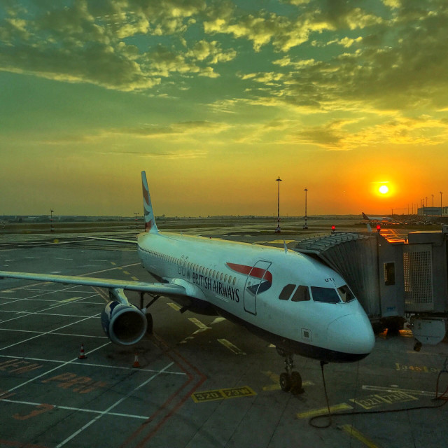 """""""Airliner at sunrise"""" stock image"""