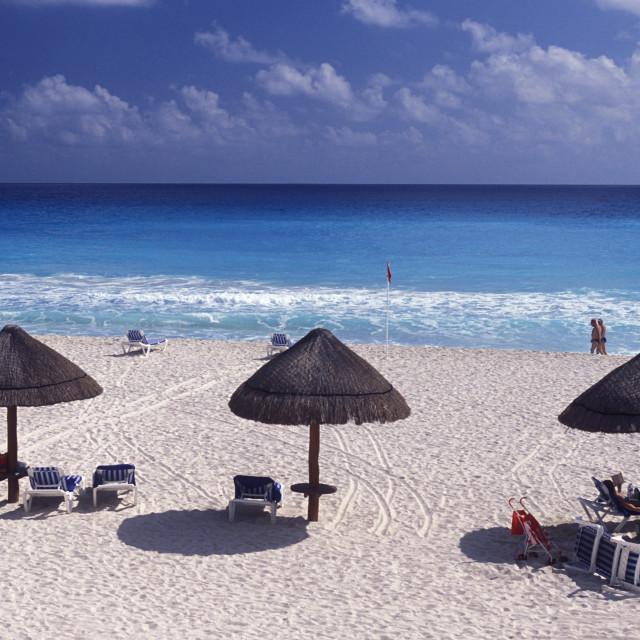 """MEXICO YUCATAN CANCUN BEACH CARIBBEAN SEA"" stock image"