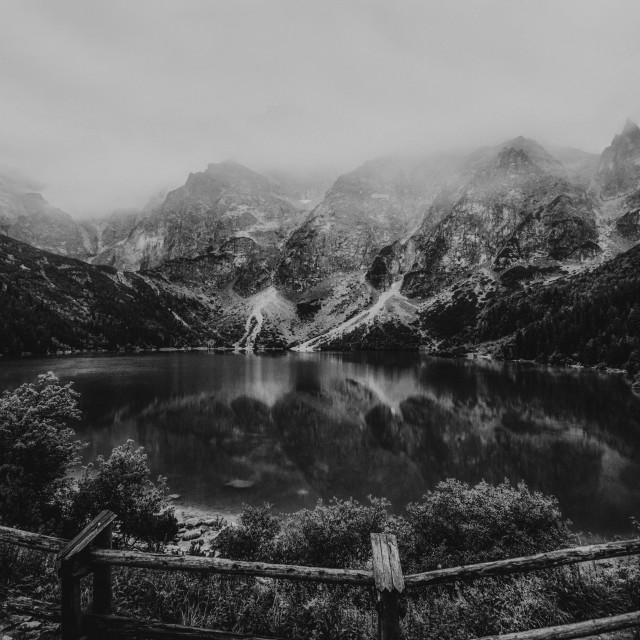 """""""autumn view of Morskie Oko lake, Zakopane in Poland, dark black and white"""" stock image"""