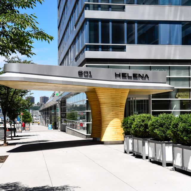 """""""Modernist door canopy in New York City"""" stock image"""