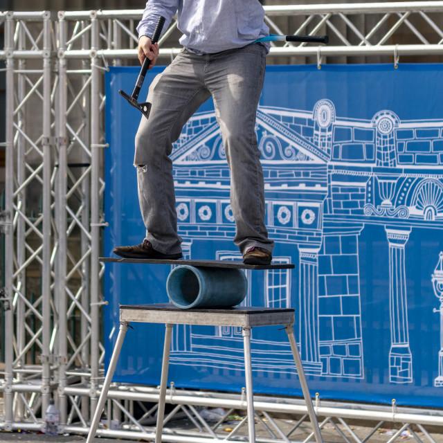 """""""Street Performer, Edinburgh Festival, 2018"""" stock image"""