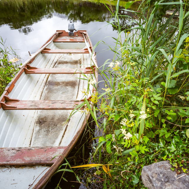 """Boat on a lake"" stock image"