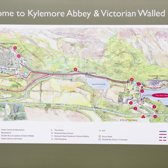 """Map of Kylemore Abbey"" stock image"