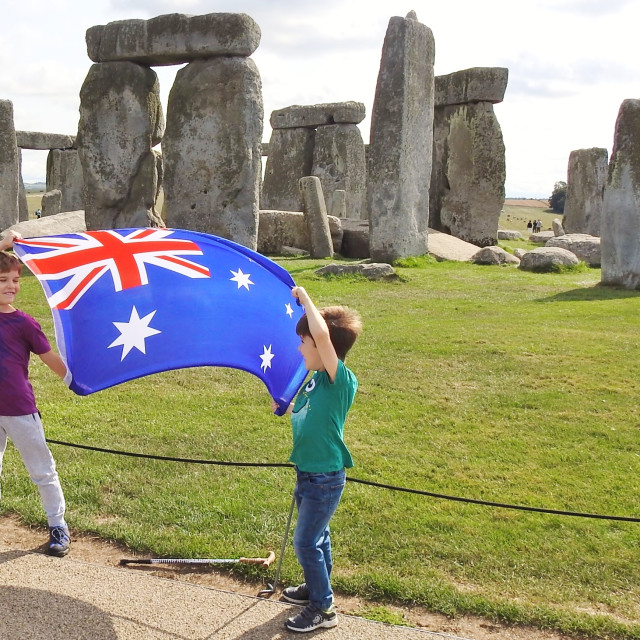 """Australia at Stonehenge."" stock image"