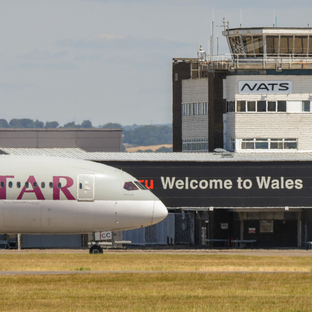 """""""Cardiff Wales Airport"""" stock image"""