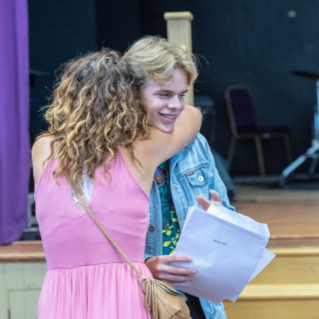 """Students receive GCSE results at Becket Keys School Brentwood Es"" stock image"