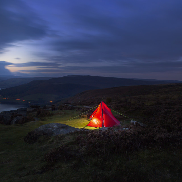 """""""Backpackers Tent Lit Up in The Peak District National Park"""" stock image"""