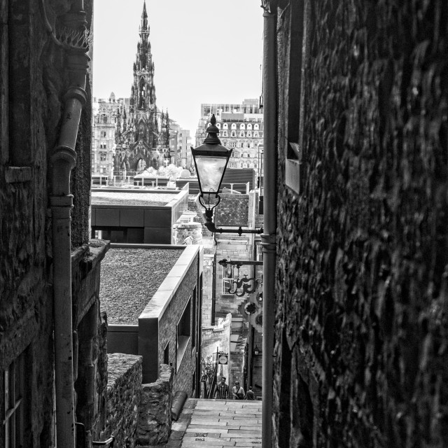 """Edinburgh Old Town alleyway"" stock image"