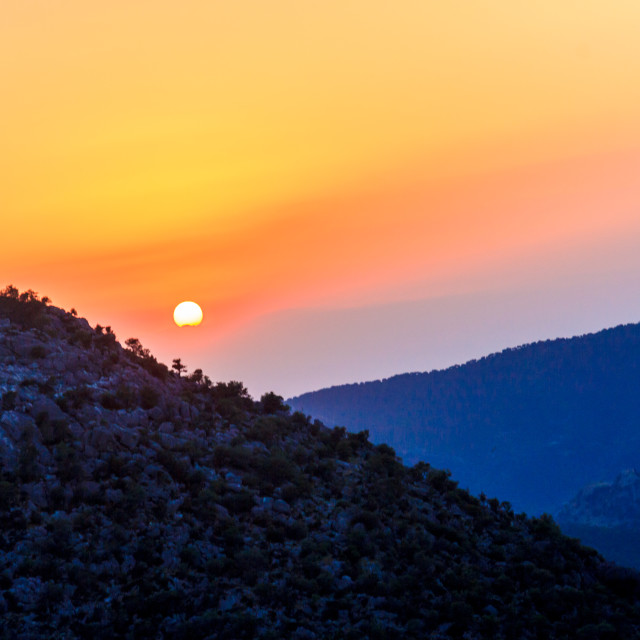 """""""Sunset over the mountains"""" stock image"""