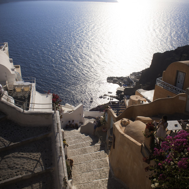 """""""Oia Stairway"""" stock image"""