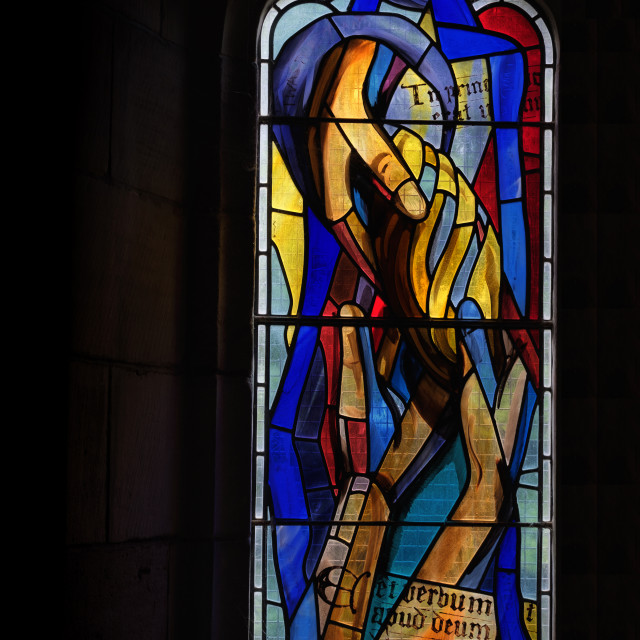 """Culross Abbey - Stained Glass"" stock image"