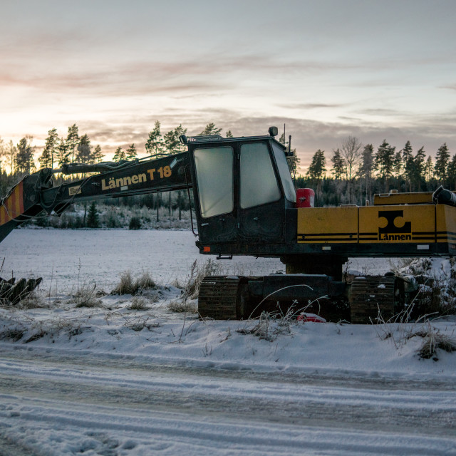 """""""Excavator in a Wintery landscape"""" stock image"""