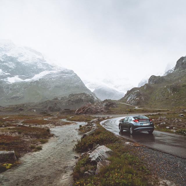 """Driving through the Switzerland Alps"" stock image"