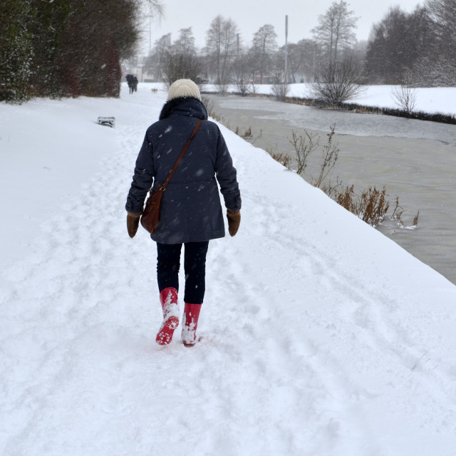 """""""Walking on the Tow path at the Forth and Clyde Canal, Clydebank"""" stock image"""