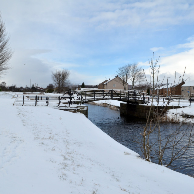 """""""Snow on the Forth and Clyde Canal, Clydebank"""" stock image"""