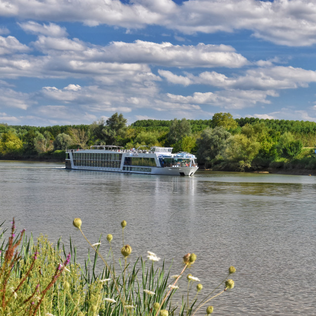 """""""A river cruise boat in France"""" stock image"""