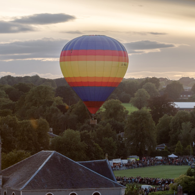 """Hot Air Ballon over Strathaven"" stock image"