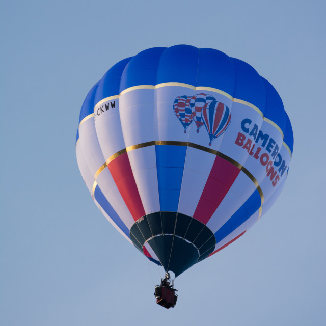 """Hot Air Balloon in flight"" stock image"