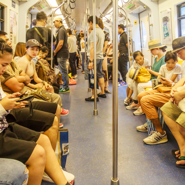 """Passengers on the Skytrain"" stock image"