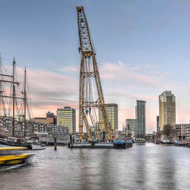 """Crane, Tallship and Watertaxi"" stock image"