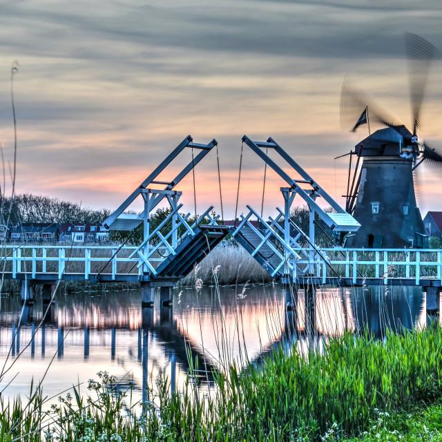 """Kinderdijk windmill and drawbridge"" stock image"