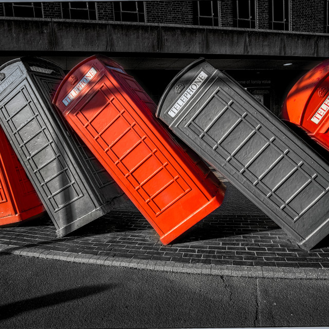 """London Phone Box Tumbling Art"" stock image"