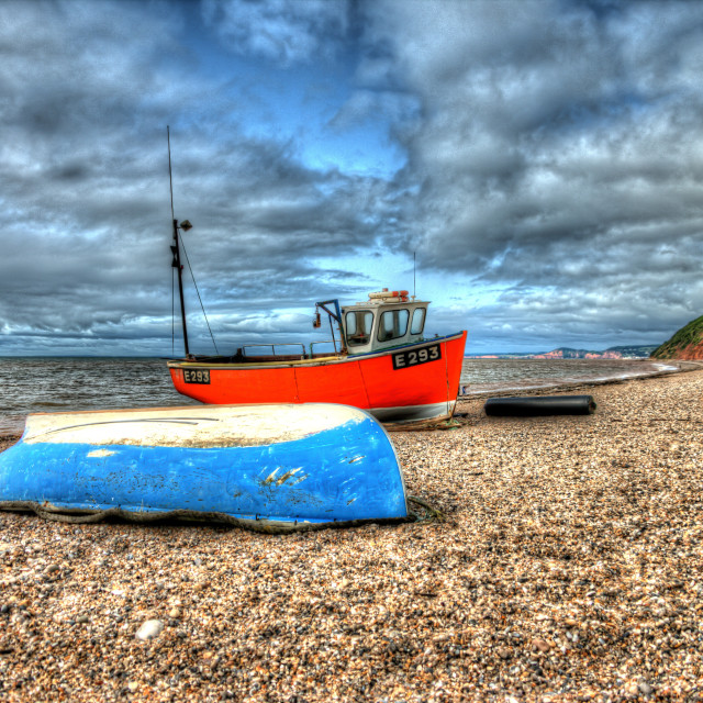 """Boat at Branscombe 2"" stock image"