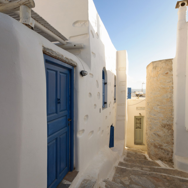 """""""Picturesque alley in Amorgos"""" stock image"""