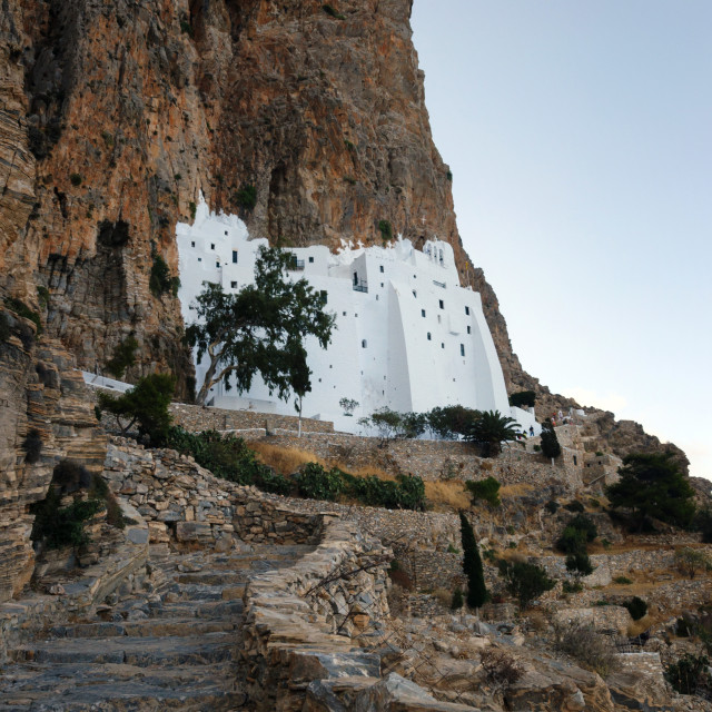 """The unique Monastery of Hozoviotissa standing at a cliff in Amorgos"" stock image"