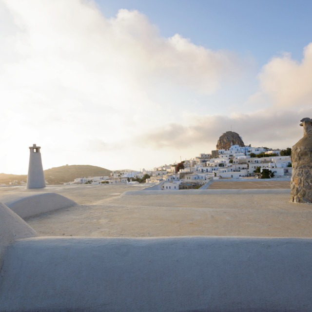 """""""View above the roofs in Amorgos Chora"""" stock image"""