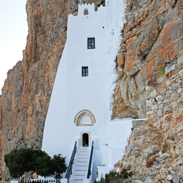 """Entrance to the Monastery of Hozoviotissa in Amorgos"" stock image"