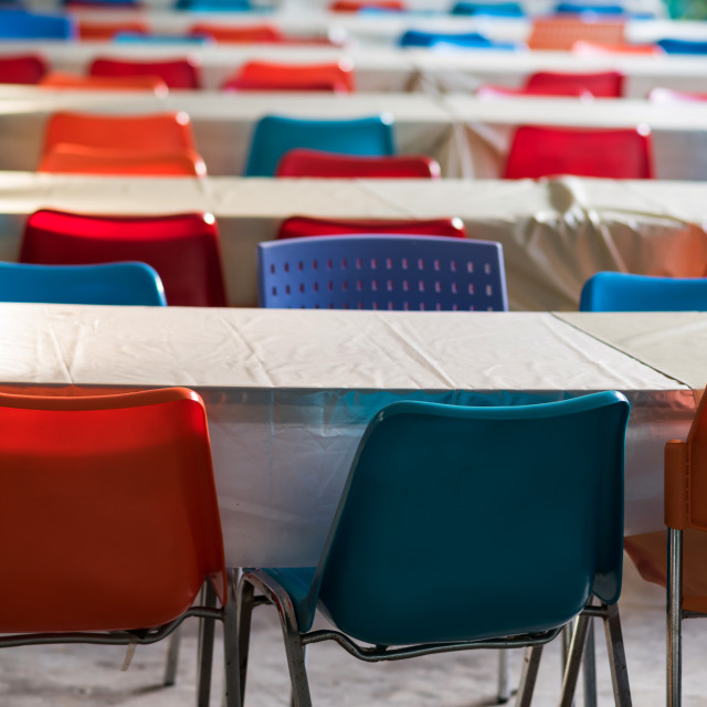 """outdoor seminar meeting table and chair"" stock image"