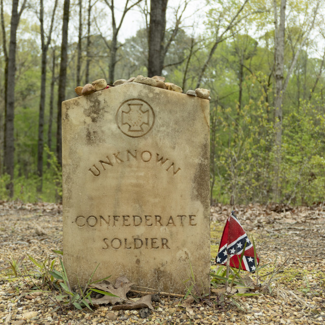 """Gravestone for Unknown Confederate Soldier"" stock image"